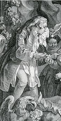 "Charlotte Charke, in a detail from William Hogarth's ""Strolling Actresses Dressing in a Barn"" (1738)"