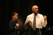 "Nicole Lowrance (Jessica) and F. Murray Abraham (Shylock)  in Shakespeare's ""Merchant of Venice,"" directed by Darko Tresnjak, Theatre for a New Audience, 2007. Photo credit: Gerry Goodstein"