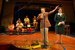 "Jay Reiss, Lisa Howard and the cast of ""The 25th Annual Putnam County Spelling Bee."" Photo credit: Joan Marcus"