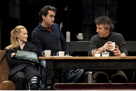 "Laura Linney, Brian d'Arcy James and Eric Bogosian in Donald Margulies' ""Time Stands Still,"" dir. by Daniel Sullivan, Samuel J. Friedman Theatre, 2010. Photo: Joan Marcus."